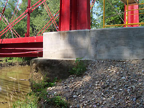 Concrete now holds the bridge in place