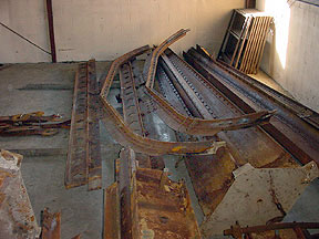 View of Zoarville Station Bridge parts in storage.