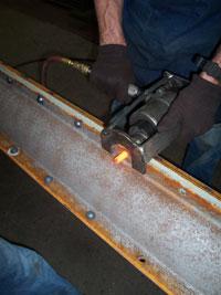 Hot rivet awaiting driver