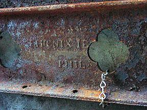 Close-up of Phoenix Iron Works stamp