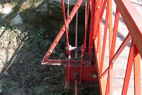 Flood debris on lower bridge components