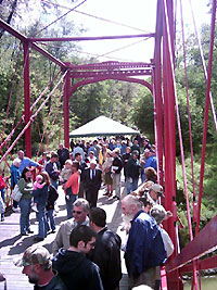 Guests gather on the bridge