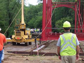 Bridge begins to move