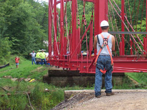 Bridge is moved into final position